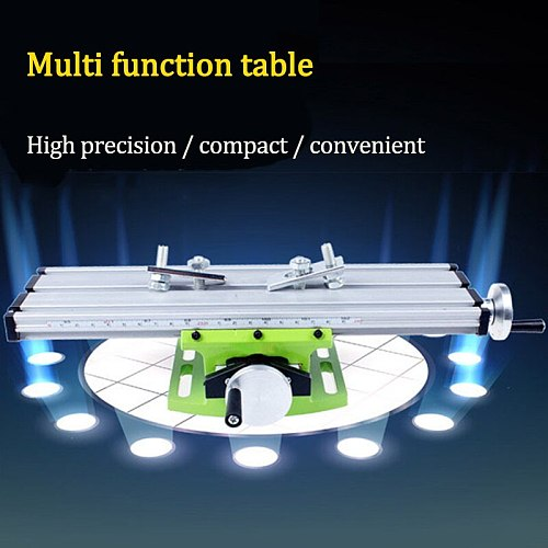 Precision Mini Table Bench Vise Drill Multi-function Compound Table Cross Slide for Milling Drilling Machine Adjustable Tool