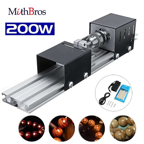 CNC Mini Lathe Beads Machine Woodwork DIY Lathe Milling machine Grinding Polishing Beads Drill Rotary Tool Set DC12-24V 200W
