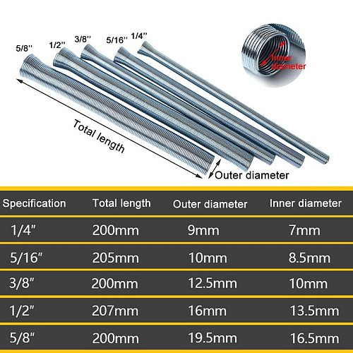 5Pcs Spring Tube Benders 1/4'' 5/16'', 3/8'', 1/2''and 5/8'' For Copper Aluminum Thin Wall Steel Tubing Bending Hand Tool