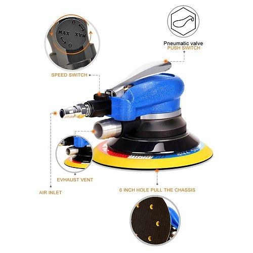150Mm 6Inch Air Sander Orbital Random Palm Double Action Compressed Air Grinder Tools+12Pcs Sanding Disc Paper US Plug
