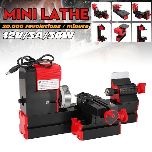 DC12V 3A 36W Mini Lathe Milling Machine Bench Drill DIY Woodworking Power Tool General Woodworking Driller Metal Wood Lathes