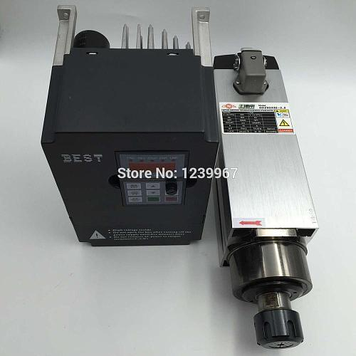 High Quality 3.5KW ER25 CNC Spindle Motor Kit Air-cooled 18000rpm + 5.5KW 220V VFD Inverter CNC Router Spindle Kit