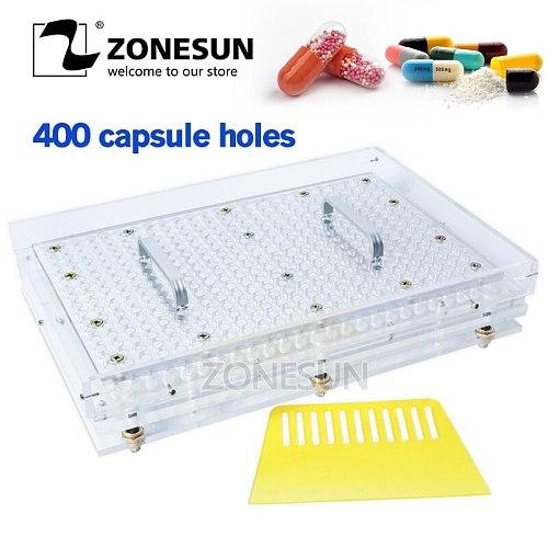 ZONESUN 400 Holes Manual Capsule Filling Machine #00 #0 #1 #2 Pharmaceutical Capsules Maker for DIY medicine Herbal pill powde