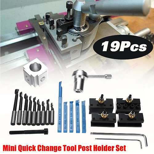 19PCS Mini CNC Lathe Tool Holder Quick Change Tool Post Holder Screw Kit Set + 3/8'' Boring Bar + Indexable 3/8  Holder Wrench