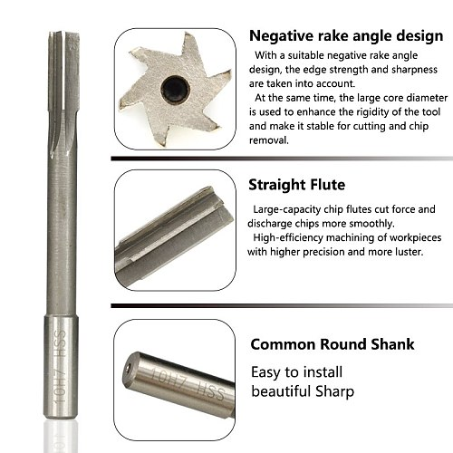 2.0-12mm H7 Machine Reamer High Speed Steel Milling Reamer Straight Shank Chucking Reamer