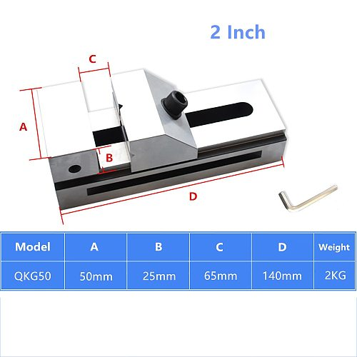 2 Inch QKG 50MM Fast Moving Vise 20CrMnTi Flat Tongs Grinder Right Angle Flat Jaw Vice Bench Clamp Precision 0.005MM HRC58-62°
