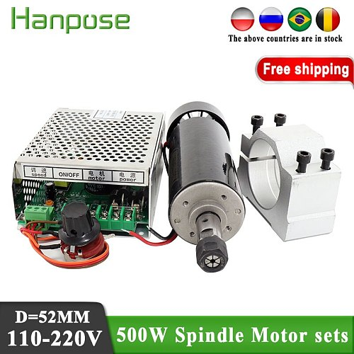 Free Shipping ER11 chuck spindle DC motor and power governor 500W air-cooled spindle motor are provided free of charge