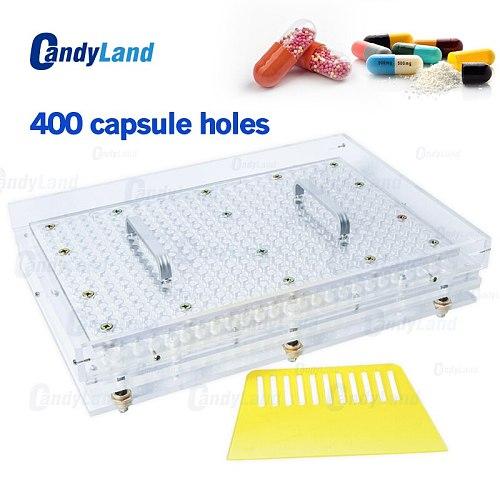 Candyland 400 Holes Manual Capsule Filling Machine #00 #0 #1 #2 Pharmaceutical Capsules Maker for DIY medicine Herbal pill powde