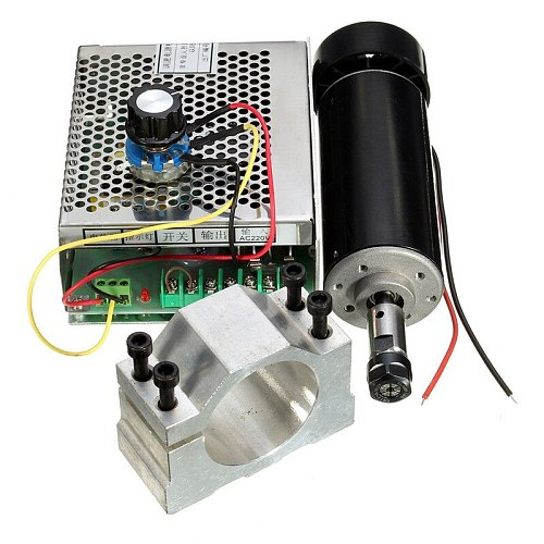 0.5kw Air cooled spindle ER11 chuck CNC 500W Spindle Motor + 52mm clamps + Power Supply speed governor For DIY CNC
