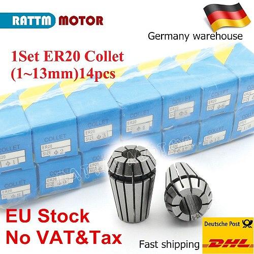 RU/ EU/US Delivery!14pcs  ER20 Collet chuck set collet spring collet for CNC milling lathe tool,spindle motor from RATTMMOTOR
