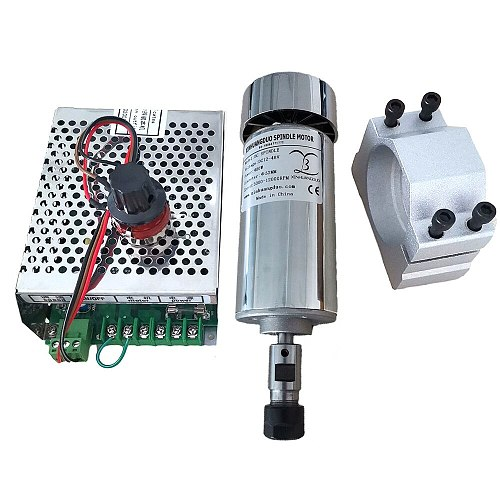 0.4kw Air cooled spindle ER11 chuck CNC 400W Spindle Motor + 52mm clamps + Power Supply speed governor For DIY CNC Carving