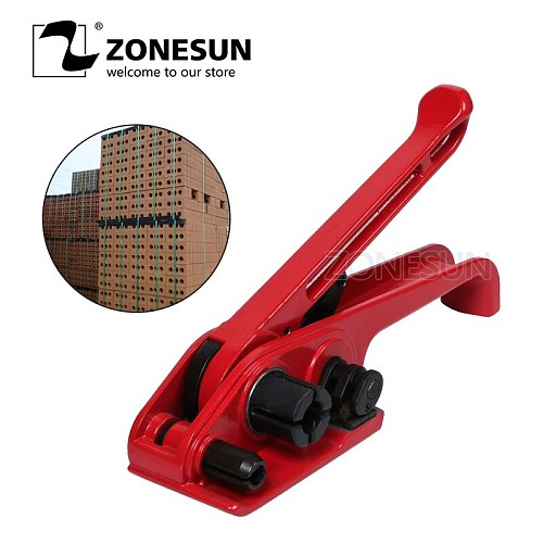 ZONESUN Manual PP/PET Strapping Machine 12-19mm Poly Strapping Tensioner Flexible Packaging Bands Binding Machine Strapping Tool
