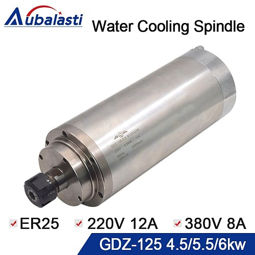 Water Cooling Spindle GDZ-125 4.5KW 5.5KW 6KW ER25 380v 8A 220v 12A 24000rpm CNC Router Spindle Motor for CNC Router Machines