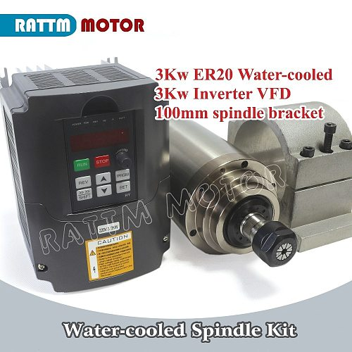 3KW Water cooled spindle motor ER20 4 Bearings & 3kw Inverter VFD 4HP 220V & 100mm Clamp Bracket for CNC Router Milling