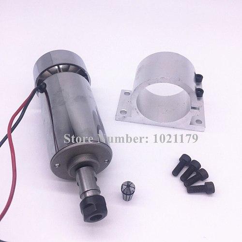 52mm CNC spindle DC12-48V ER11 300W air cool spindle motor + DC48V power switch + ER11 collet chuck +  motor speed controller