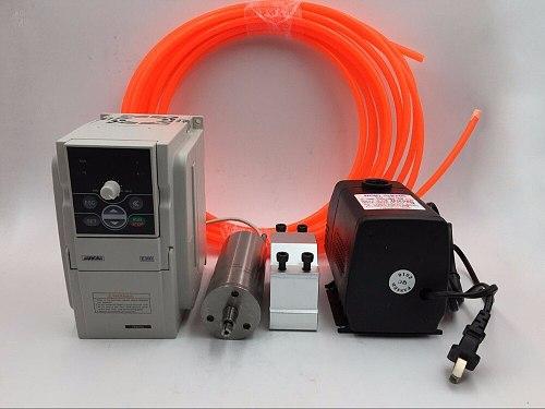 300W 60000rpm Water-cooled Spindle Motor 0.3KW 75V 3.7A 1000Hz D48*124mm GDS300 &1.5kw Inverter VFD &Bracket&Pump/Pipe CNC
