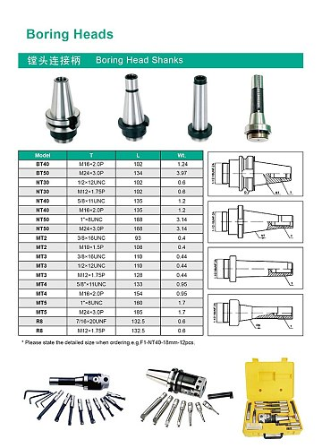New high-precision boring tool handle spindle specifications MT3 MT4 BT40 R8 For F1 boring head 1pcs
