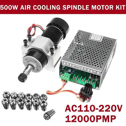 WOLIKE 500W 110V-220V Air Cooling Spindle Motor Engraving Machine Router+52mm Clamp+Speed Governor ER11 Power Supply CNC Milling