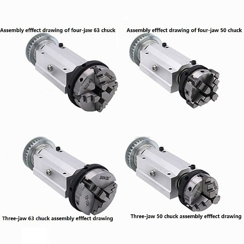 50 Four-jaw / 63 Three-jaw chuck spindle assembly  mini lathe woodworking beads machine spindle assembly DIY lathe / bead machin