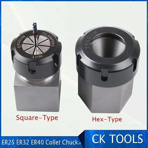 square ER32 ER25 ER40 chuck block hard steel hex ER  spring chuck seat, suitable for CNC lathe engraving and cutting machine