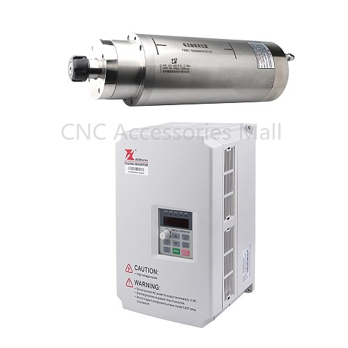 Water cooled spindle motor 7.5kw D125mm ER25 900HZ AC220V/380V & 7.5kw VFD Frequency Inverter DZB280B0075