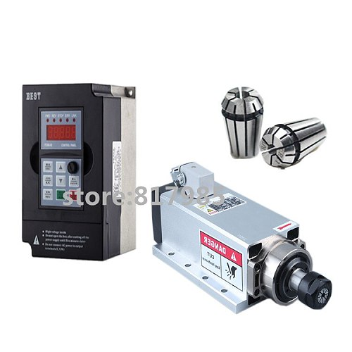 High quality 2.2KW air cooled spindle motor ER20 cnc milling electric spindle & 2.2kw inverter for cnc engraver
