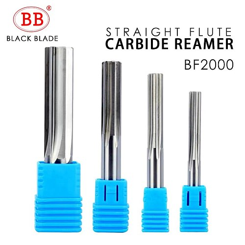 BB Carbide Machine Reamer Straight Flute Uncoated H7 Tolerance Chucking Metal Cutter 6 Flutes CNC