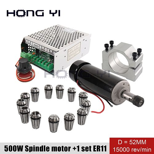 Air cooled 0.5KW milling machine motor + spindle converter +  clamp  ER11 chuck 500W Power Supply speed governor For DIY CNC 4.9