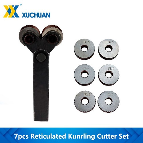 Dual Wheel Knurling Tool Kit Reticulated Knurling 7pcs 0.5mm 1mm 2mm Lathe Cutter Wheel Knurling Tool Linear Pitch Knurl Set