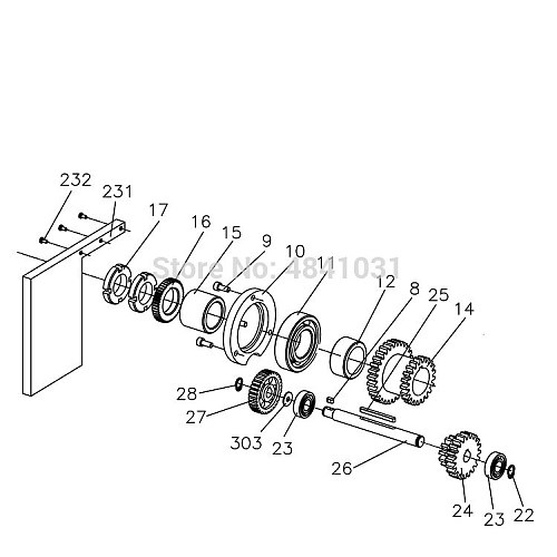 High/Low Gear Shaft SIEG C3-026 H/L Second axis