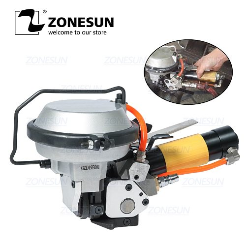 ZONESUN Steel Strap Packing Machine Strapping Machine for Steel Belt 16-19mm Handheld Pneumatic Steel Band Machine