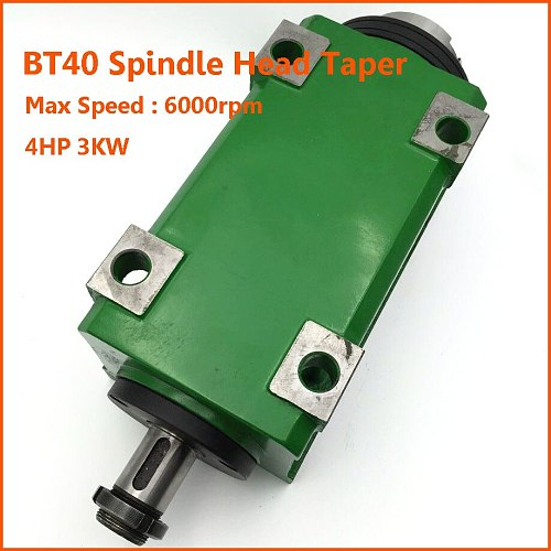 3KW Spindle Head BT40 Taper Power Head Unit 4HP Max Speed 6000rpm for Drilling Boring Machine CNC