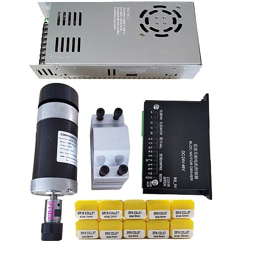 48v 500W ER16 Brushless Spindle+57MM Clamp with Screws+ 48V Brushless Motor Driver+48VDC 10.5A Power Supply