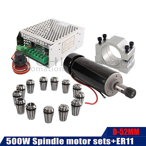 DIY CNC power governor ER11 chuck + 500W air-cooled spindle motor 0.5K For 3D Printer Monitor Equipment