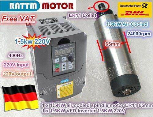 EU Free VAT CNC 1.5KW 220V Air-cooled spindle motor ER11,24000rpm& 1.5kw Inverter VFD 2HP 220V For CNC Router Engraving Milling