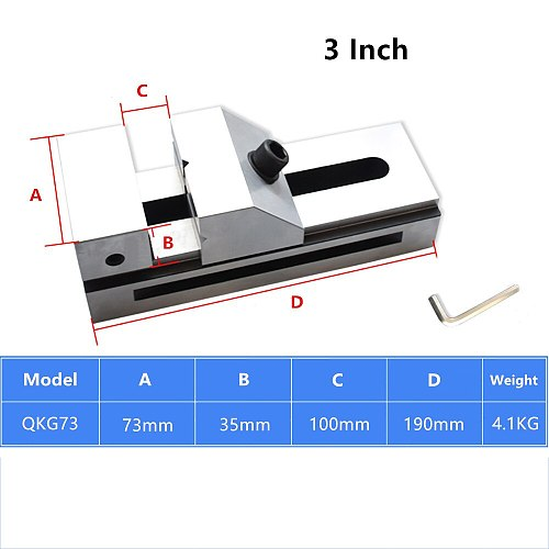 3 Inch QKG 73MM Fast Moving Vise 20CrMnTi Flat Tongs Grinder Right Angle Flat Jaw Vice Bench Clamp Precision 0.005MM HRC58-62°