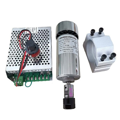 0.3kw Air cooled spindle ER11 chuck CNC 300W Spindle Motor + 52mm clamps + Power Supply speed governor For DIY CNC Carving
