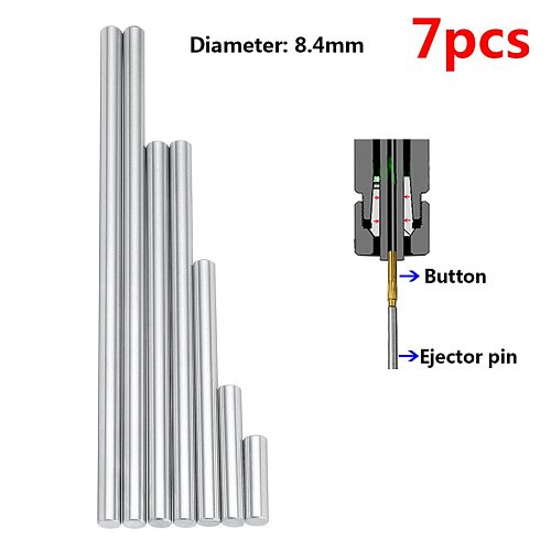 7pcs 8.4mm Ejector Pins Set Pushing Rifling Buttons High Hardness Full Specifications Machine Chucking Reamer Tools Accessories