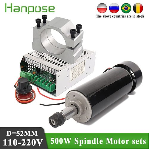 0.5kw Air cooled spindle motor ER11 chuck CNC 500W Spindle dc Motor + 52mm clamps + Power Supply speed governor For DIY CNC