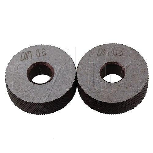 2PCS Knurling Tool Silver Diagonal Wheel Linear Knurl 0.6mm Pitch 26x8x8mm