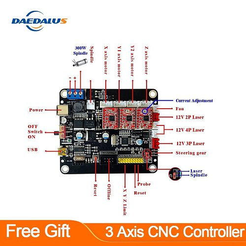 3 Axis CNC Controller GRBL Control &300W Spindle Double Y Axis USB Driver Laser Board For 3018/1610/2418 CNC Engraver Carving