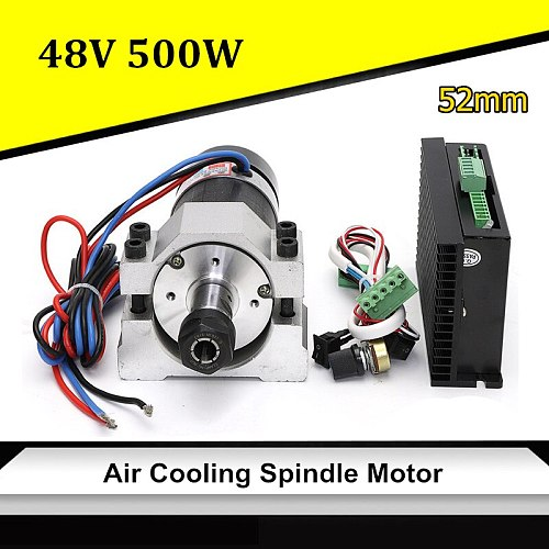 48V CNC 500W Air Cooling Spindle Motor Brushless DC Motor+52mm Clamp +Speed Governor ER16 For CNC Engraving Milling