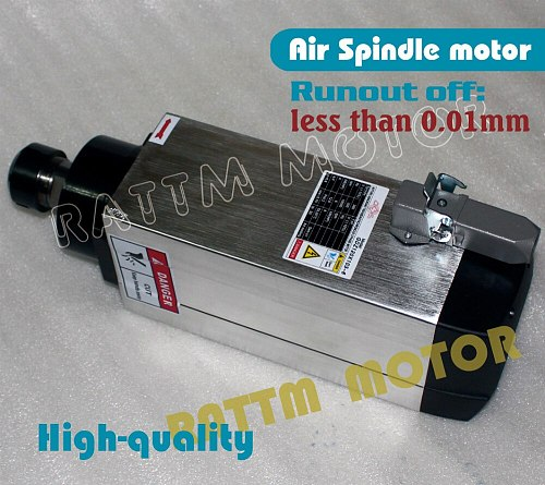 Square 6kw Quanlity Air cooled spindle motor ER32 runout-off 0.01mm, 4 Ceramic bearing,Engraving milling grind