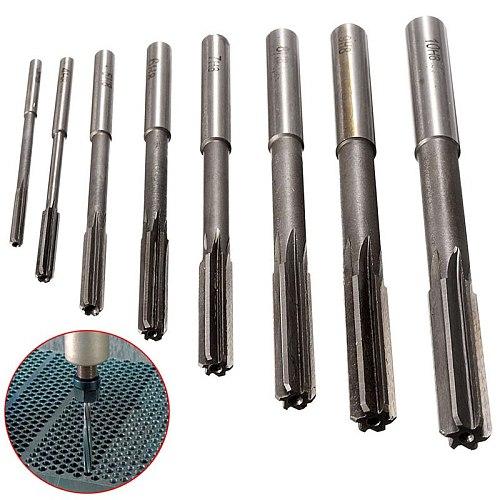 8PCS 3/4/5/6/7/8/9/10mm HSS Hand Reamer Kit Straight Shank H8 Chucking Reamers Set Cutter Tool For Bore Machine