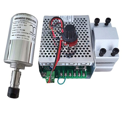 0.2kw 48VAir cooled spindle ER11/16 chuck CNC 200W Spindle Motor + 52mm clamps + Power Supply speed governor For DIY CNC Carving