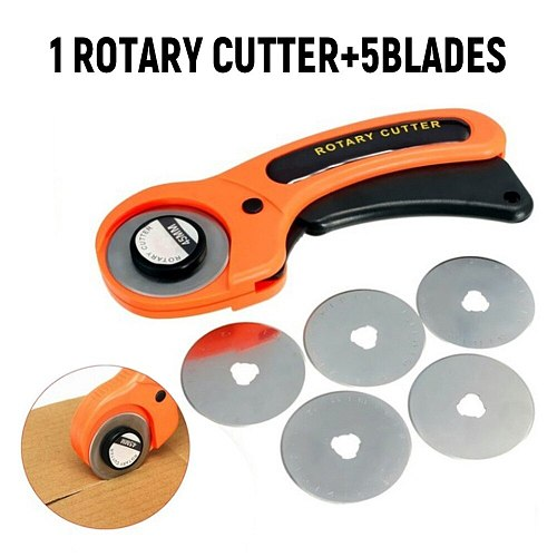 6pcs/set 1 rotary cutter and 5 blades for sewing quilting fabric cutting craft tool