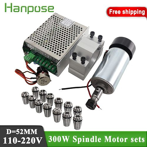 clamp (send 4PC screws)+Best price 300w dc spindle motor + power supply + ER11 collect For PCB Engraving