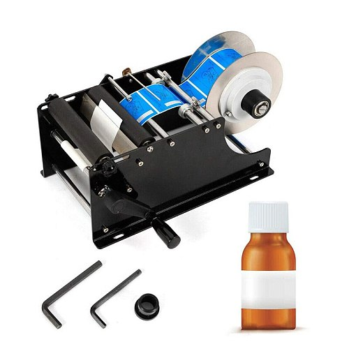 Manual Round Bottle Labeling Machine Beer Cans Wine Adhesive Sticker Labeler Label Dispenser Machine Packing Machine