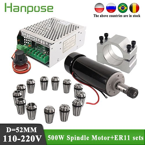 Air cooling spindle DC motor + power + CNC ER11 collet 500W For 3D Printer Monitor Equipment