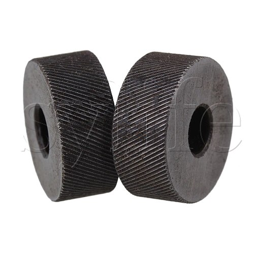 2PCS 0.5mm Pitch Diagonal Coarse 19mm OD Knurling Wheel Roller Tool Steel